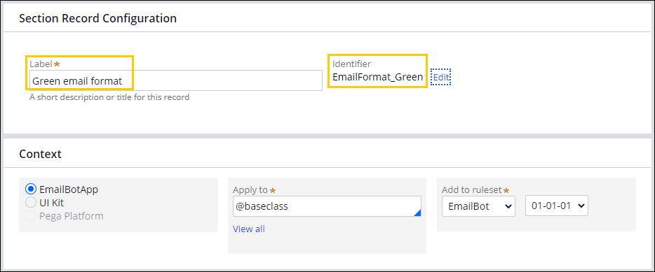 The new email format template label and identifier                                         representing the green theme.