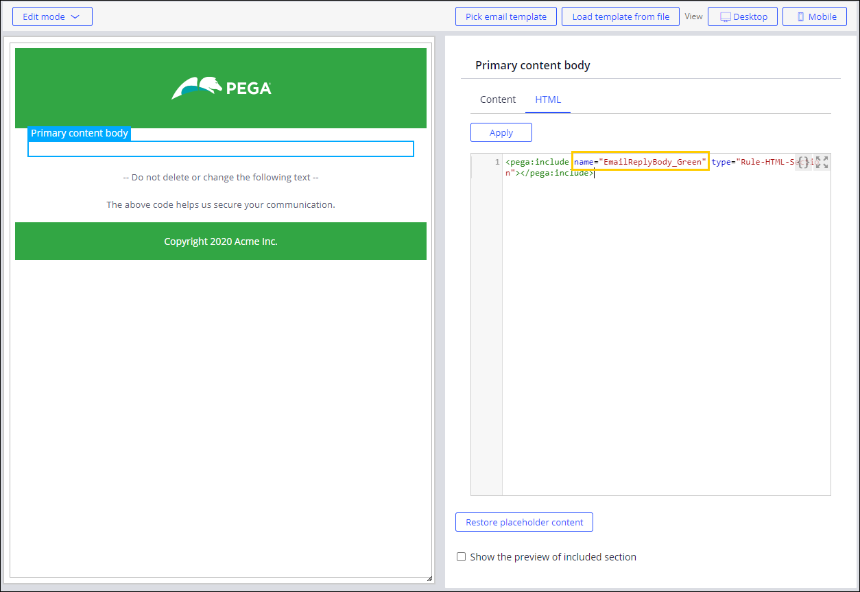 The new email reply template representing the green                                         theme.