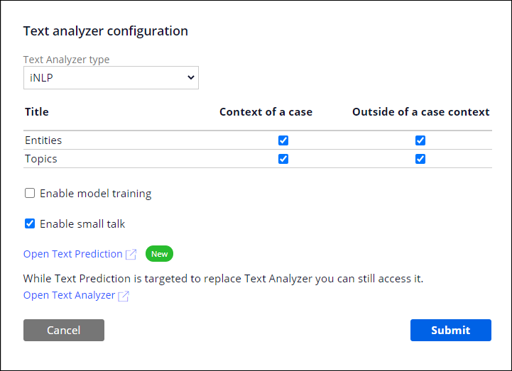 The advanced configuration section for the iNLP text analyzer, set                                 up for an IVA channel.