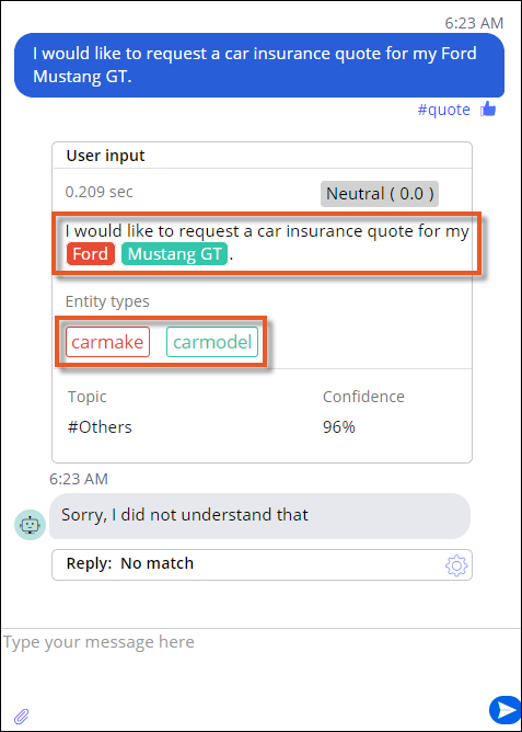 Car make and car model entities in user input in the preview console.