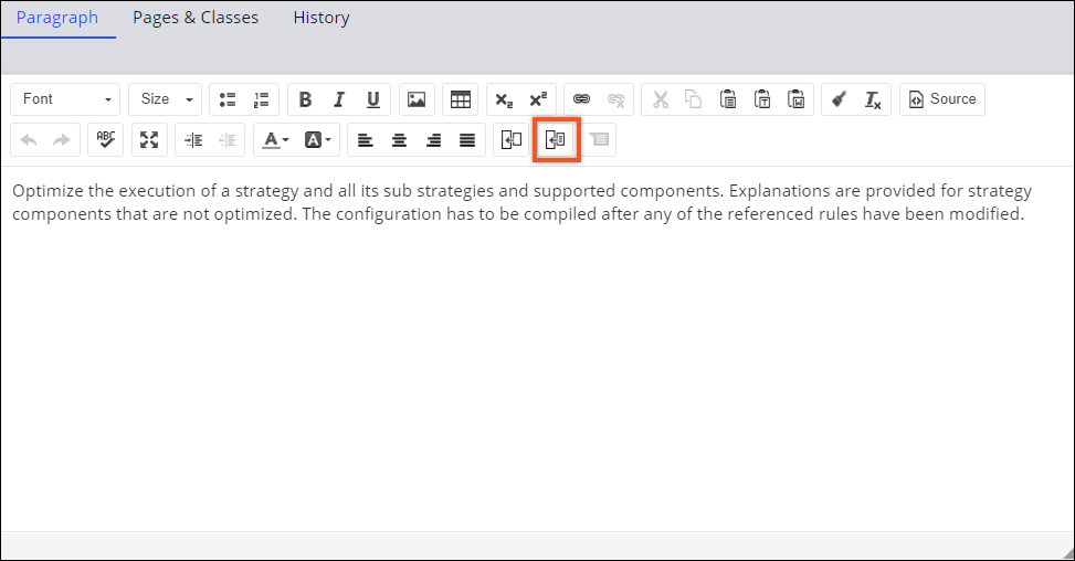 The text area and the Insert Rule icon on the toolbar when                                         you edit a paragraph rule.