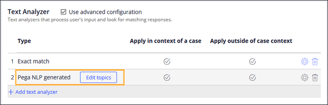 The Behavior tab showing enabled text analyzers for the                                         case, both in-context and out-of-context.
