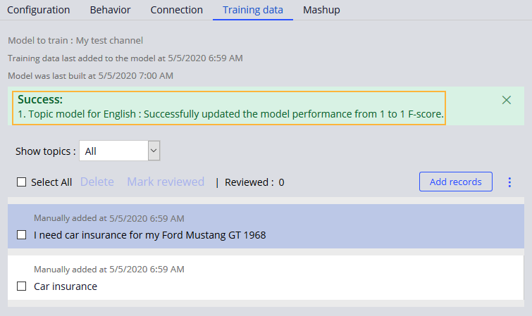 Updating the model  using previously reviewed data in the Training                                 data tab.