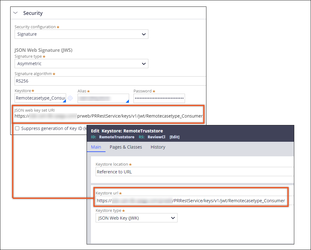 Creating a truststore rule form with a URL as reference and the URL from                         the consumer system provided