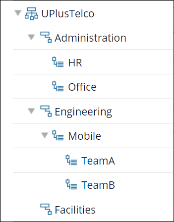A sample organizational chart that shows an organization with divisions,                         units, and sub-units.