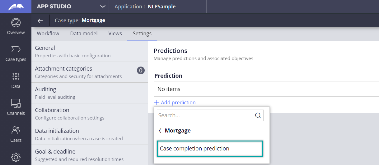 Adding a case completion prediction to a mortgage case type in App                                 Studio