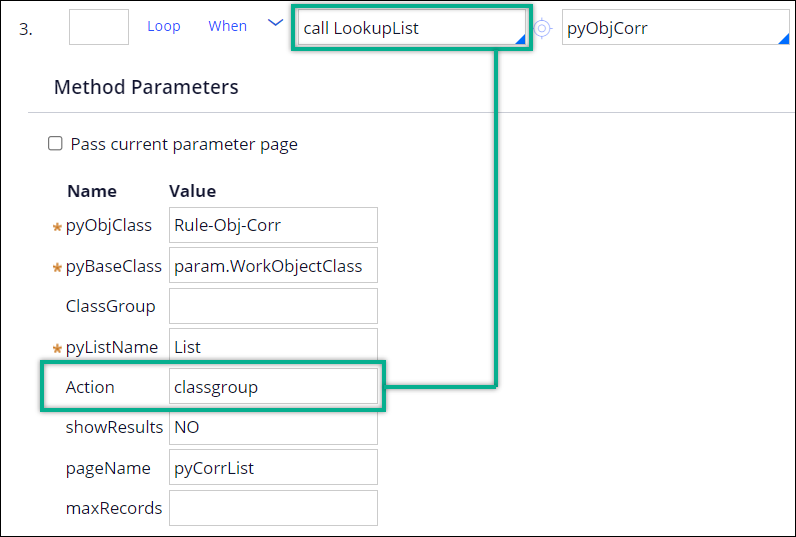 Parameters in the ListOfValidCorrs activity for application                                         context.