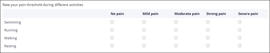 A run time display of a radio button matrix to rate pain threshold