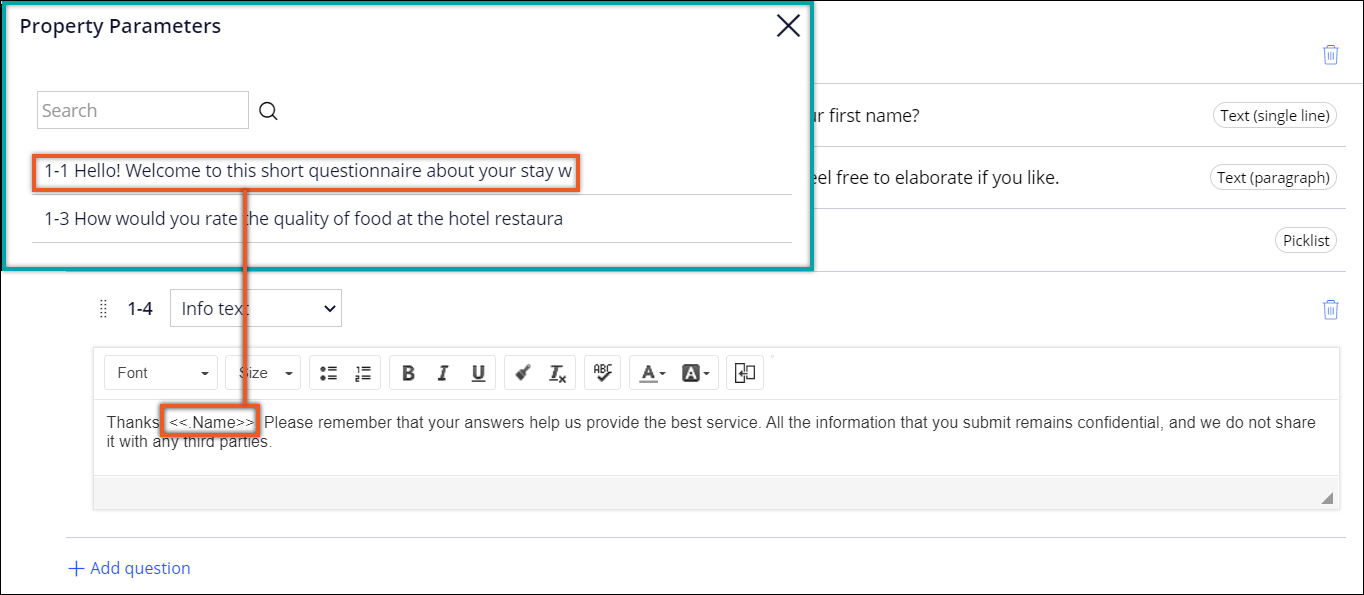 Select from question dialog box and a questionnaire with a reused                                 answer