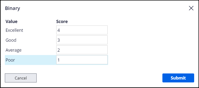 Binary window with a numeric value assigned for each answer