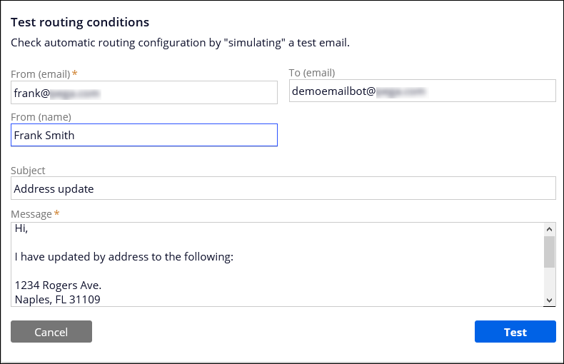 The testing routing conditions window for the email bot