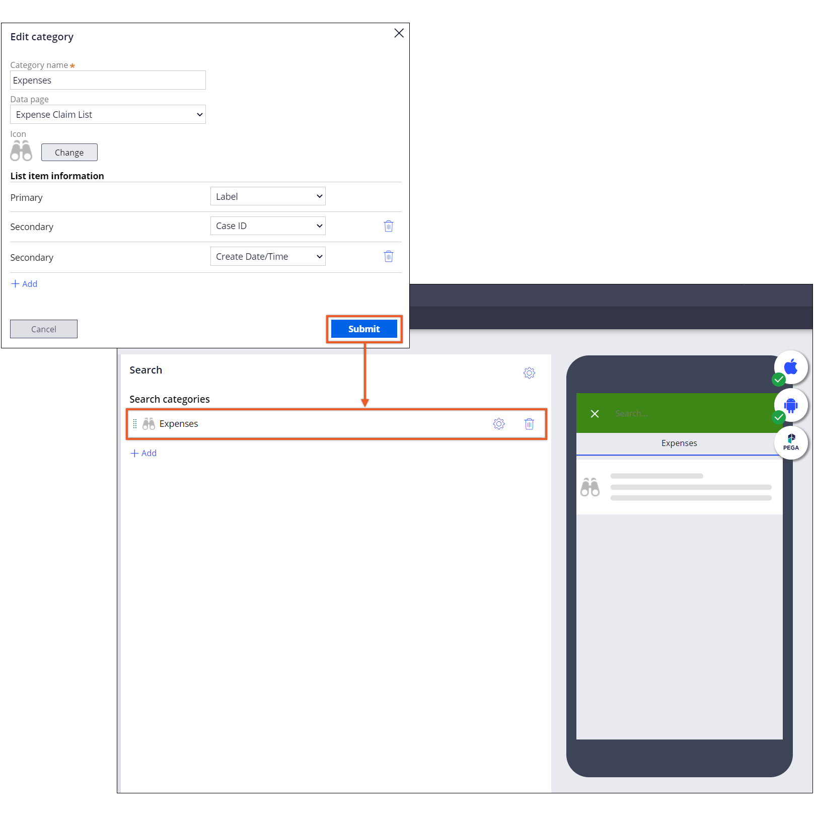 The image shows Pega Platform's mobile channel and a flow for configuring a                         mobile search gadget.