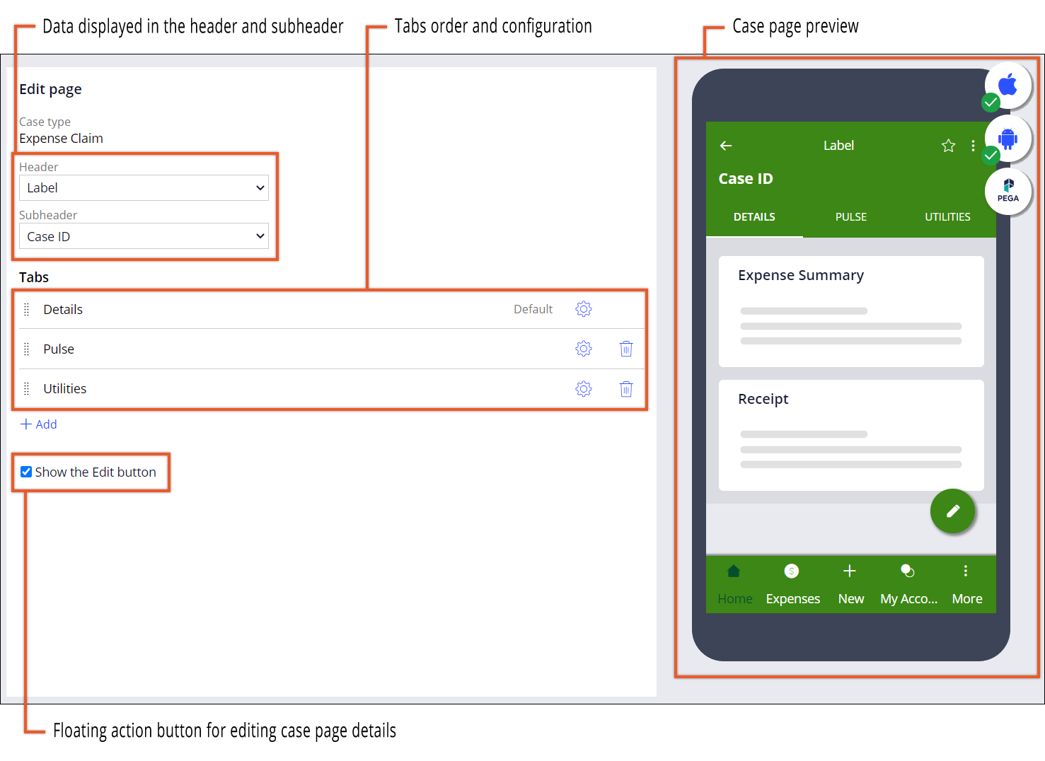 The image shows the low-code mobile channel with configuration                                 settings for an expense report case. The case page contains the                                 following tabs: Details, Activity, and Utilities. On the right, the                                 preview displays the case page with the Details tab that contain an                                 Expense Summary and Receipt views.