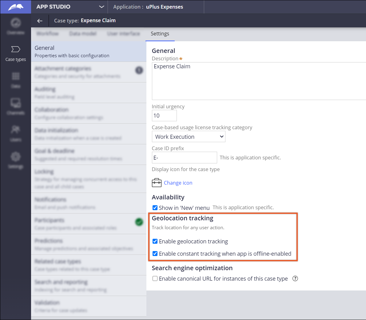 The image shows the configuration settings for enabling geolocation tracking for a               specific case type in Pega Platform.