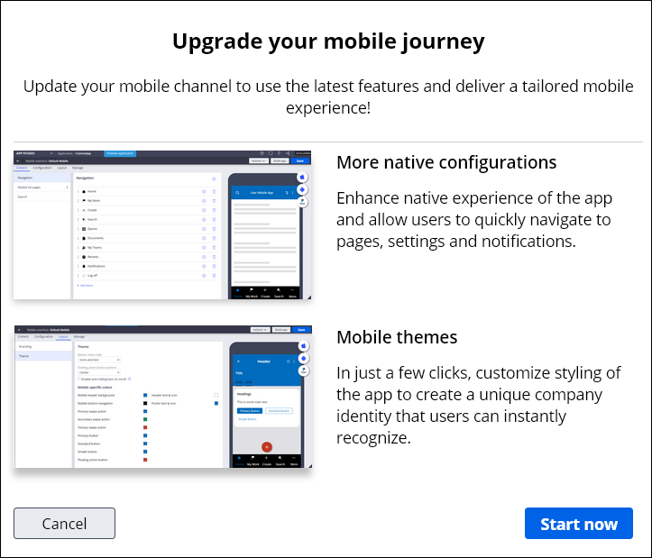 Upgrade wizard that enables you to start the process of converting                                 to a Pega Mobile Client-based channel.
