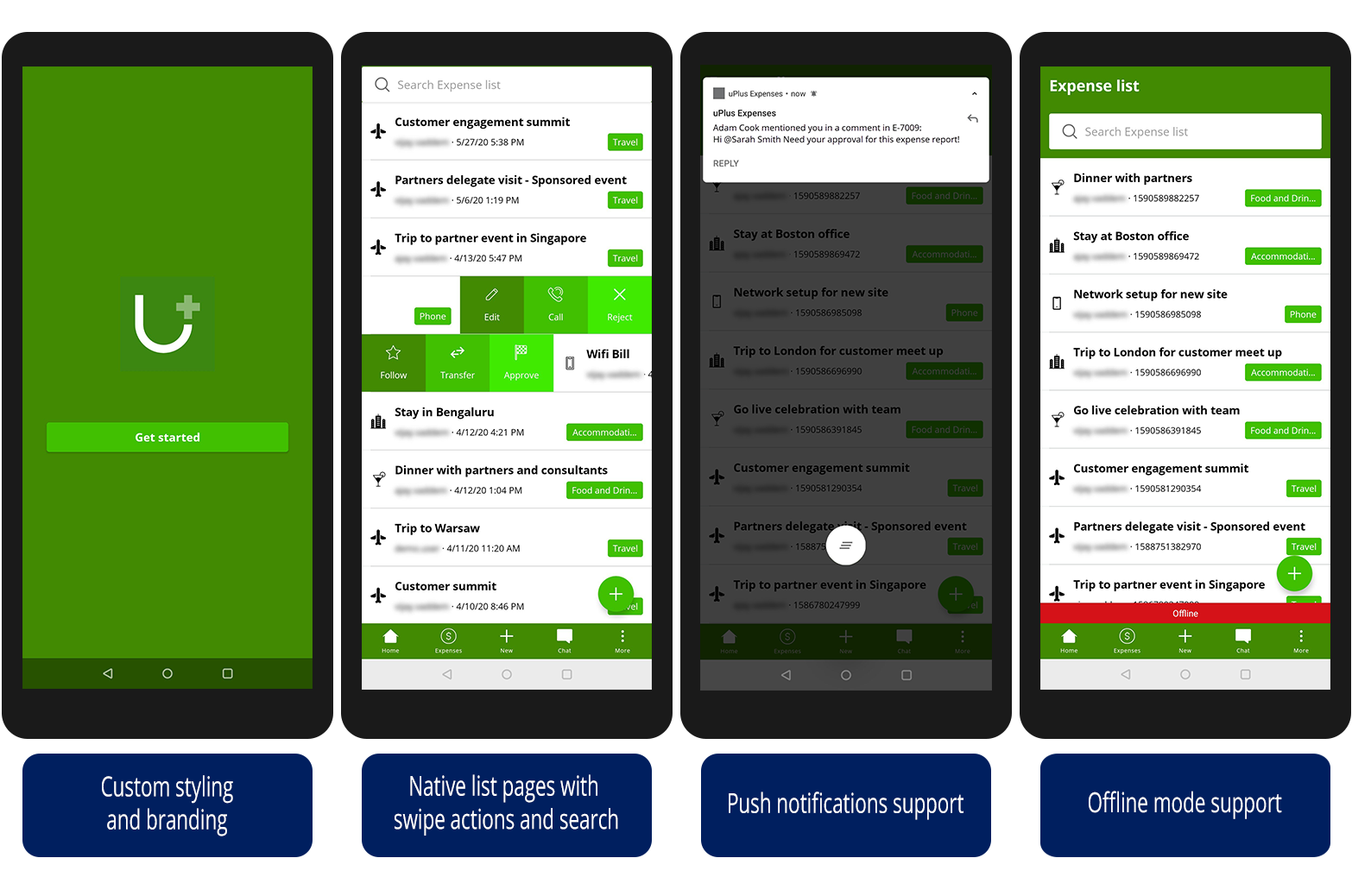 The image shows an Expenses reporting app on four mobile devices, each                             representing a different mobile feature: custom styling, native list                             pages, push notifications, and offline support.