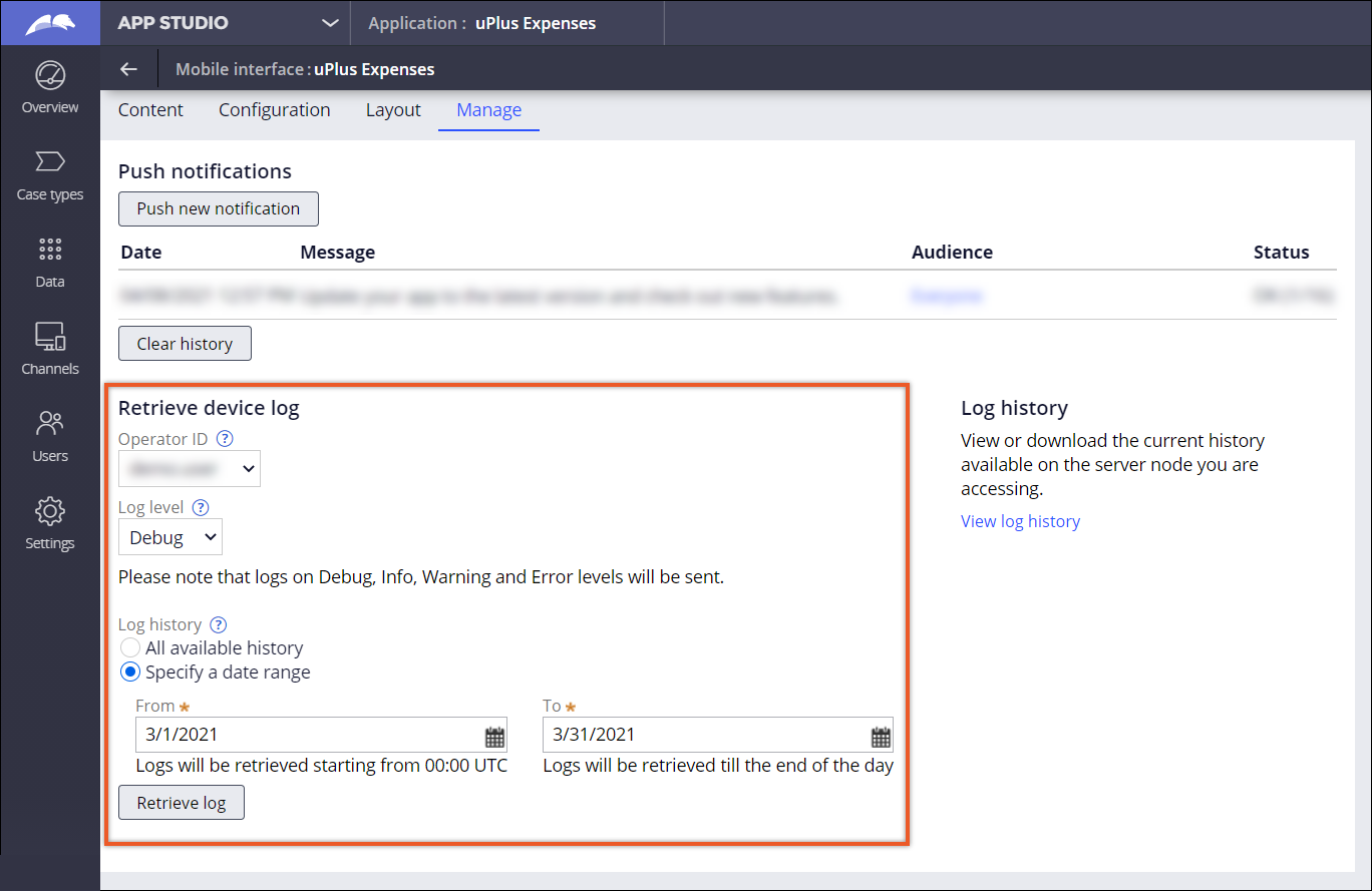 The Manage tab with a highlighted Retrieve device logs section. Settings specify that             logs are to be retrieved for a selected user, for the log level Debug, for a specific             date range (March 2021).
