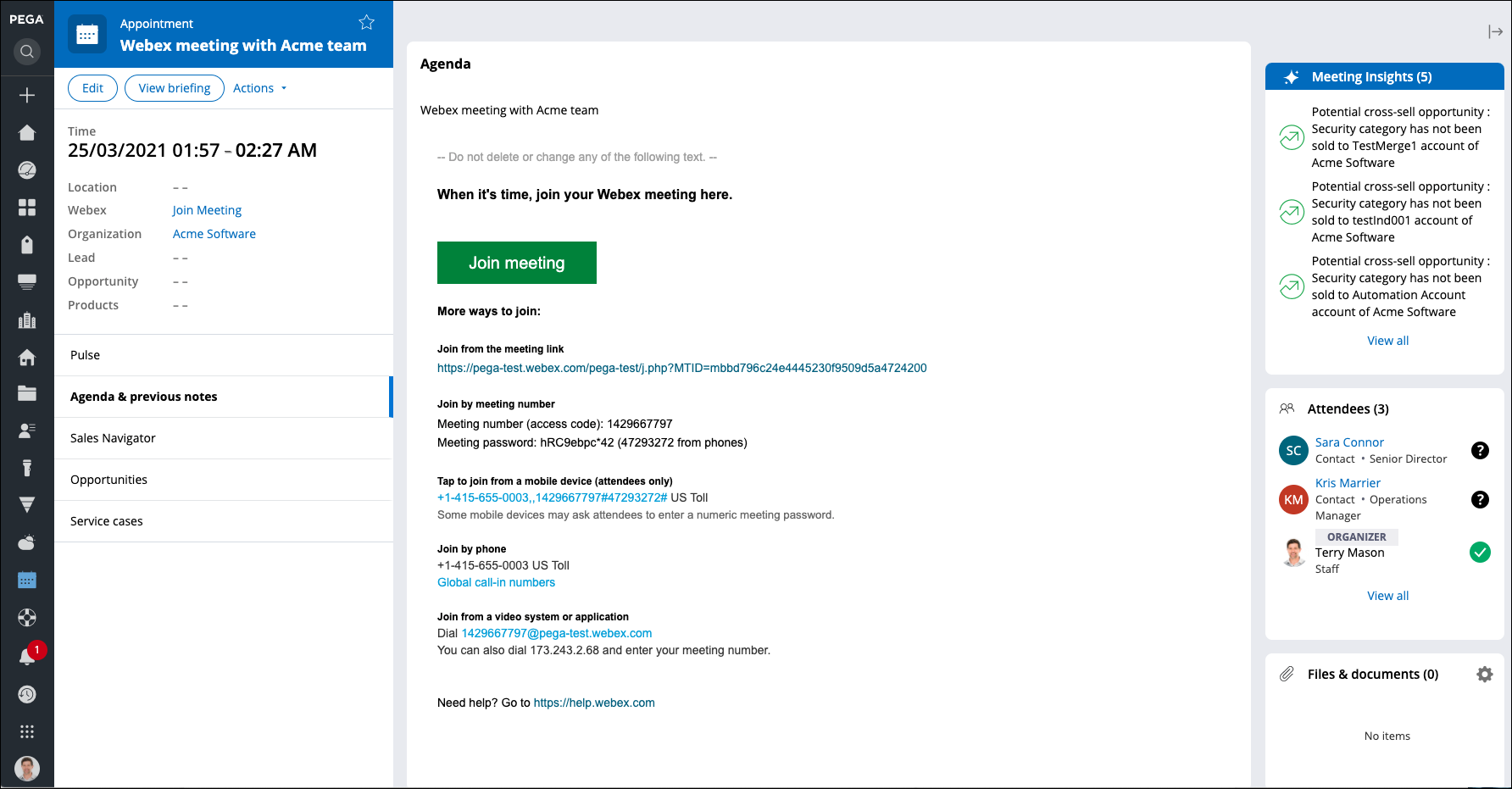 An appointment screen with Webex link
