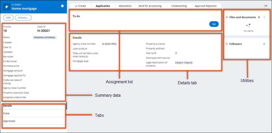 Case page includes a summary pane and a tab list on the left, a utilities                         pane on the right, and an assignment list and a tab view in the central part                         of the screen.