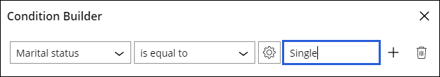 Condition builder fields illustrating the example of marital status                         evaluating equal to true when the user input is Single.