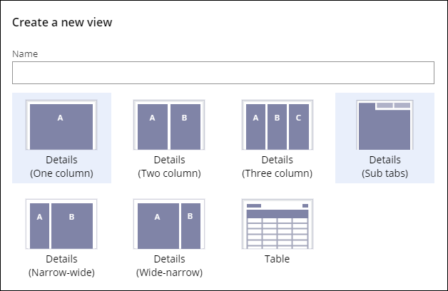 View templates are based on columns, lists, or tabs.