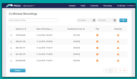 View recordings from the Co-Browse dashboard