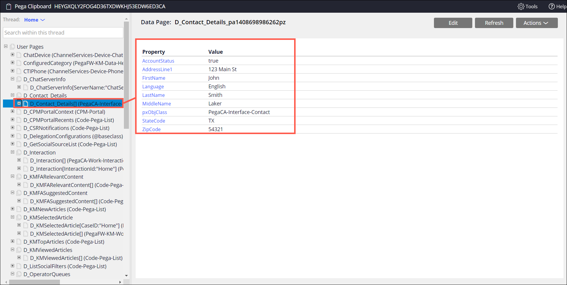 An example Clipboard page with populated properties