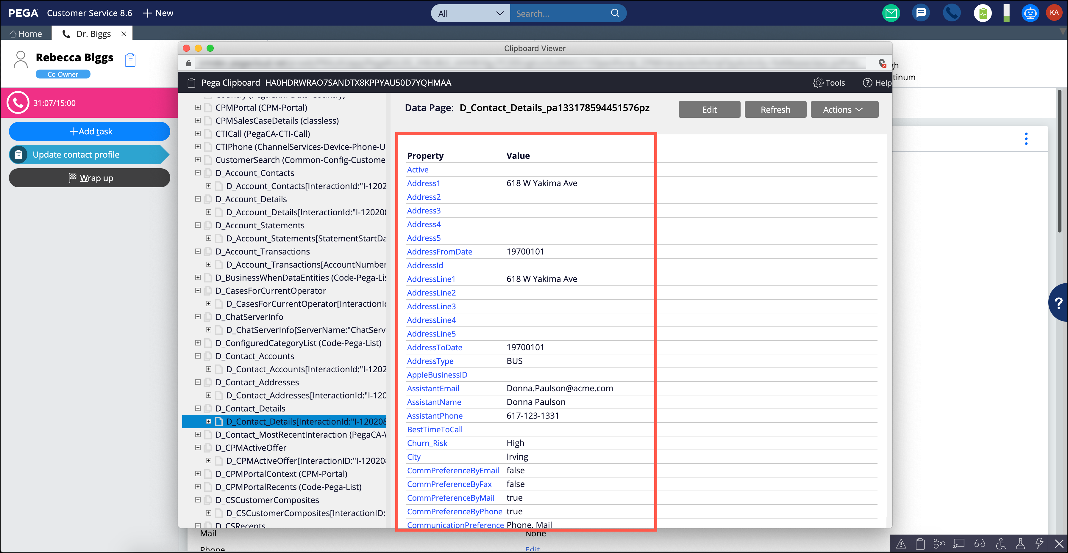 A clipboard view of the D_Contact_Details data page with marked                                 contact details