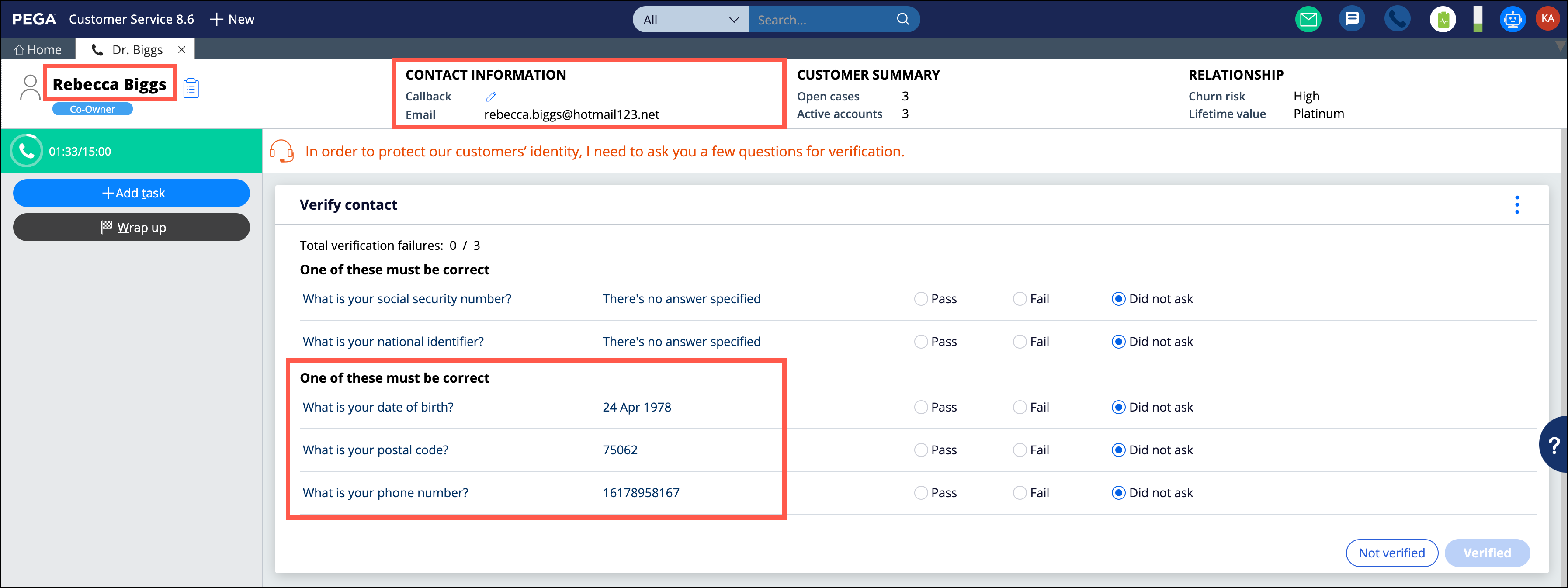 Customer Verification page with marked contact-related                                     properties