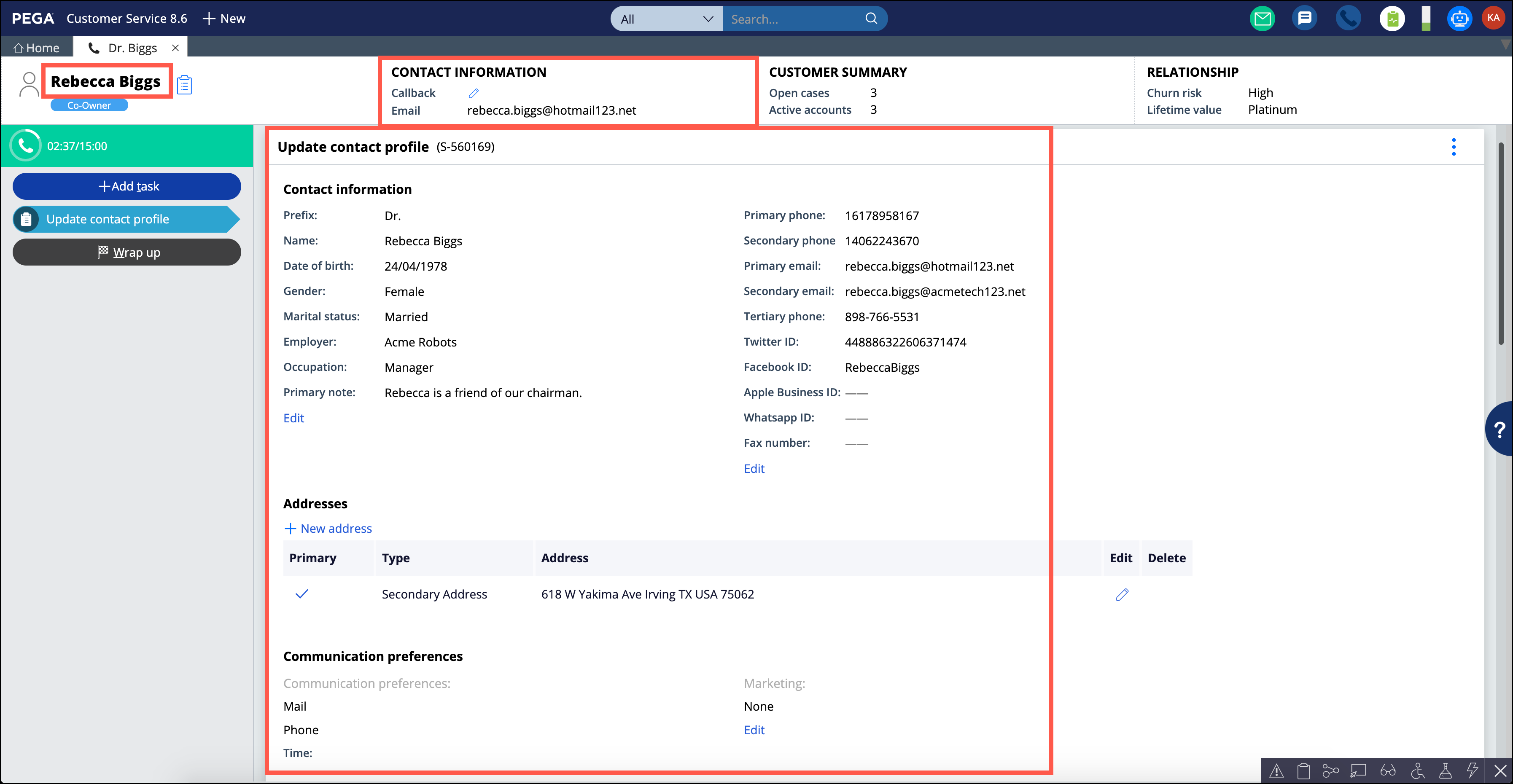 An Update contact profile service case page with marked                                     contact-related properties