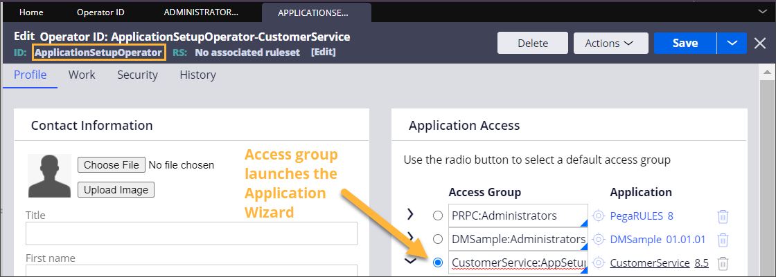 New operator with default access group selected