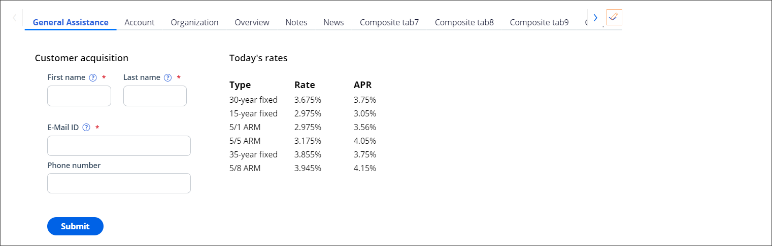 The Configure customer composites view shows each tab so that you                                 can change the data displayed
