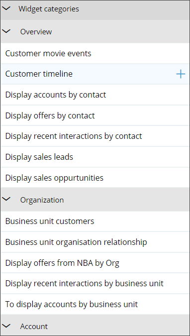Shows a list of the widgets organized by category