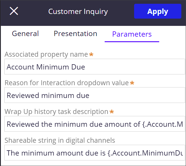 Parameters include an interaction reason, interaction history                                 message, and auto-generated response content