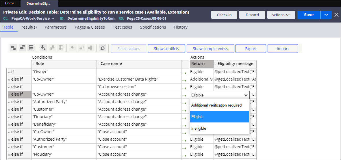 Change the default action for a case type from eligible to                                         required additional verification