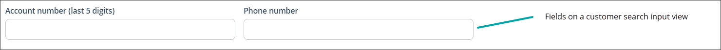 The CSR enters search data in the input view fields
