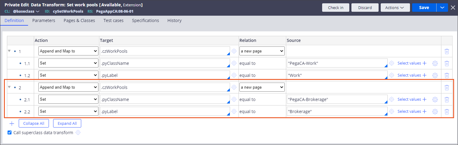 Data transform with a new work pool configured
