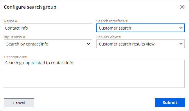 Shows the fields that you must enter to configure a search group