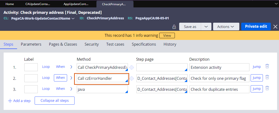 Calling an error handler activity for the check primary address activity.