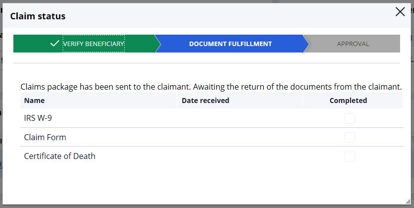 Claim status window displaying line-of-business specific information