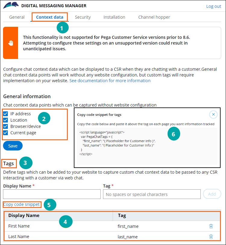 Chat context data tab