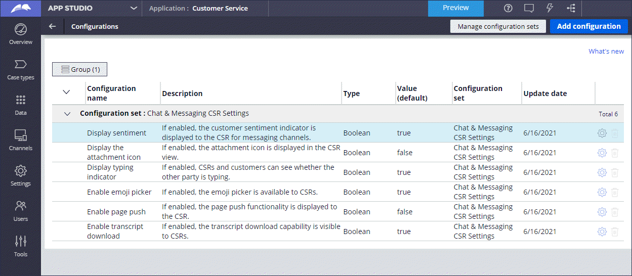 """Configuration settings in the """"Chat & Messaging CSR Settings""""                                 config set"""