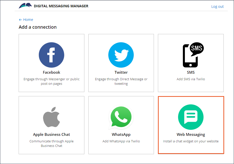 The digital messaging manager displaying tiles for different                                 channels, such as Facebook, SMS, and Twitter.