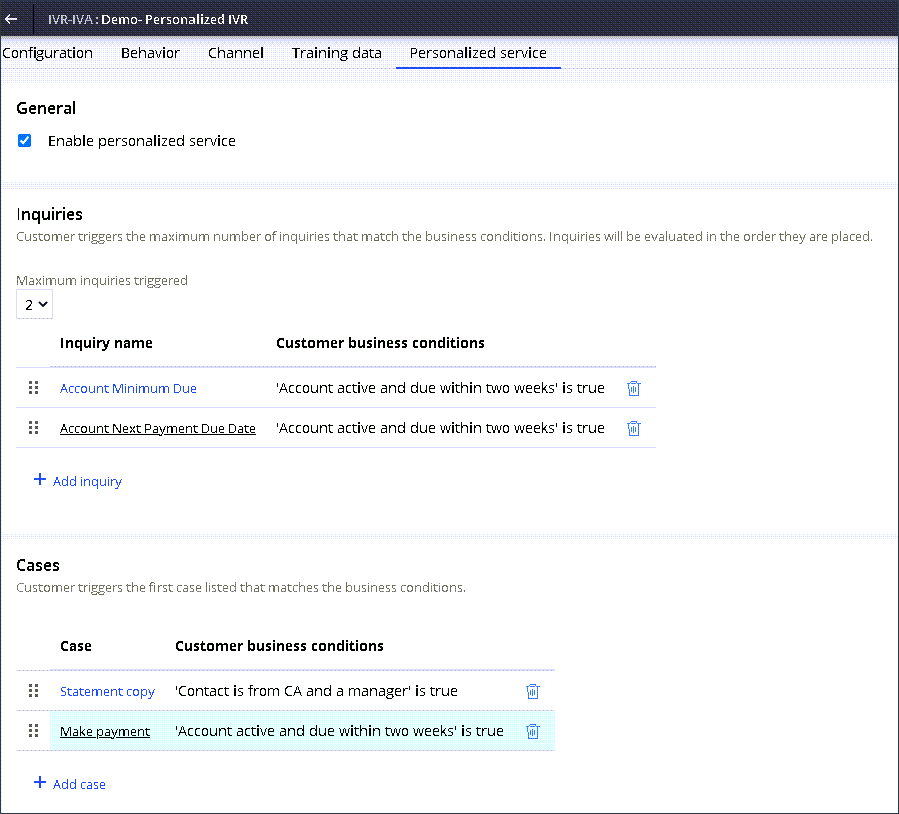 IVR-IVA channel Personalized service tab