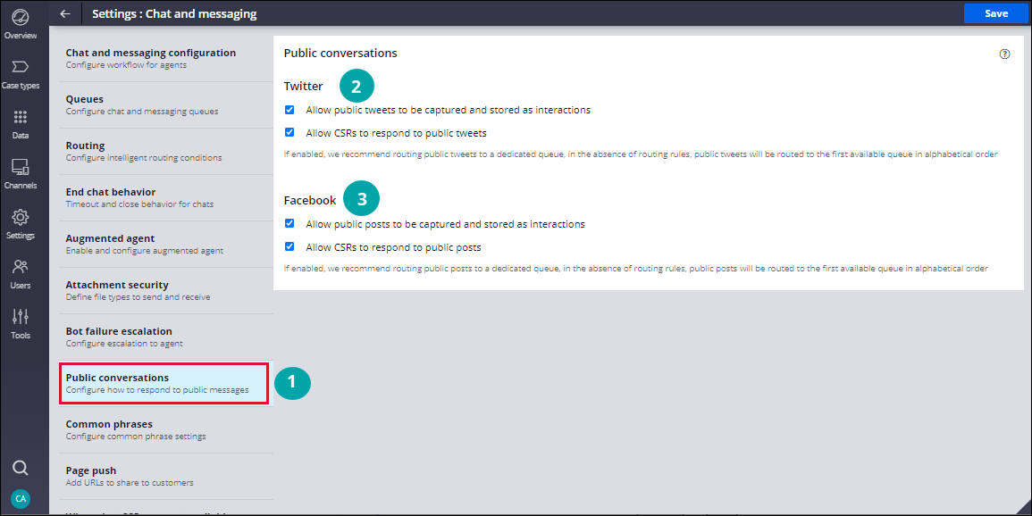 Configuring Twitter and Facebook settings in App Studio