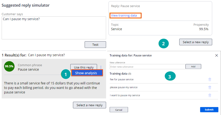 Show analysis option displaying view training data option, topic, and                             propensity