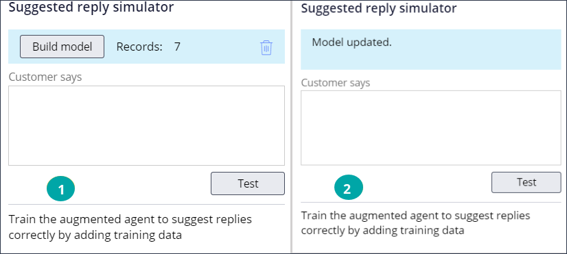 Suggested reply simulator before and after the model is updated