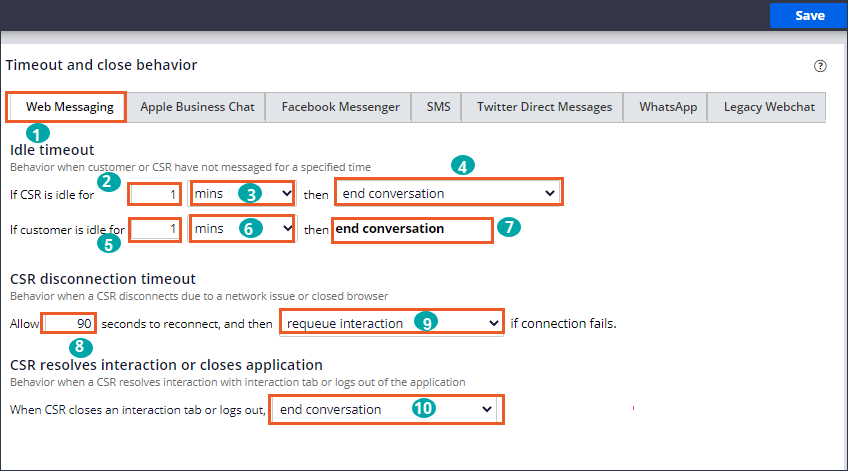 Timeout and close behavior settings for Web Messaging