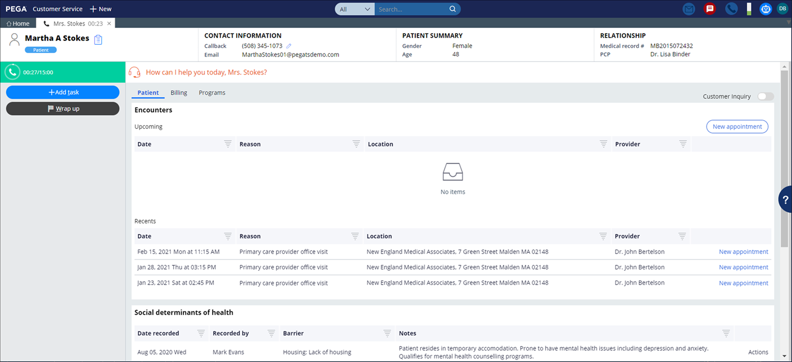 Patient information displayed in the Interaction Portal when using Patient                     services