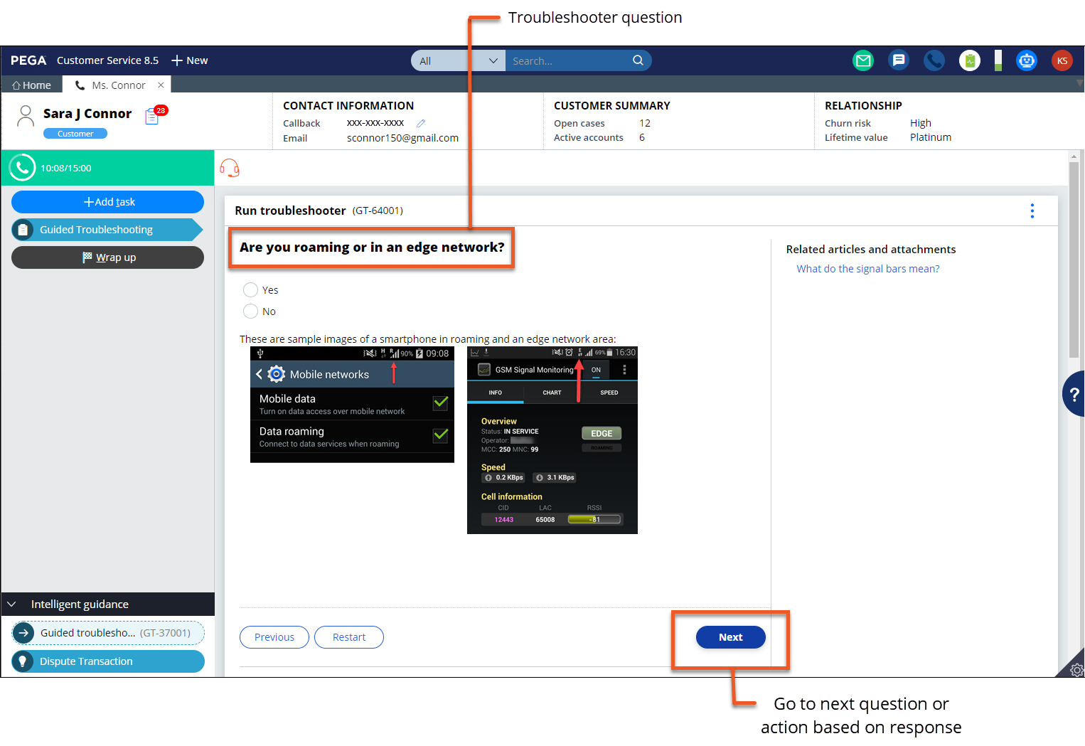 Example of guided troubleshooting questions displayed to a CSR to help them                     troubleshoot a customer issue
